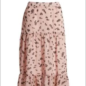 Leith Pink Puff Floral Drift Tiered Maxi Skirt L